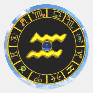 AQUARIUS /GOLD ZODIAC BIRTHDAY JEWEL CLASSIC ROUND STICKER