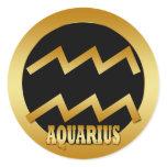 AQUARIUS GOLD ZODIAC SIGN CLASSIC ROUND STICKER