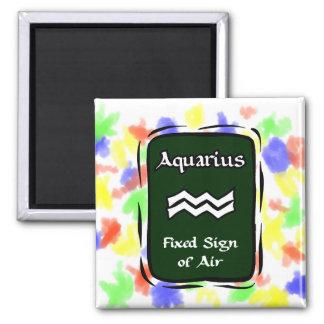 Aquarius Green Graphic 2 Inch Square Magnet