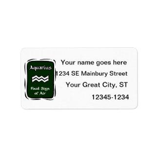Aquarius Green Graphic Address Label