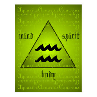Aquarius Holistic Triangle Mind Body Spirit Green Postcard
