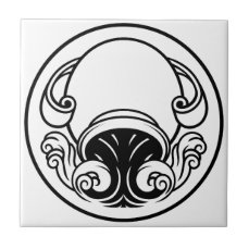 Aquarius Horoscope Birth Sign Ceramic Tile