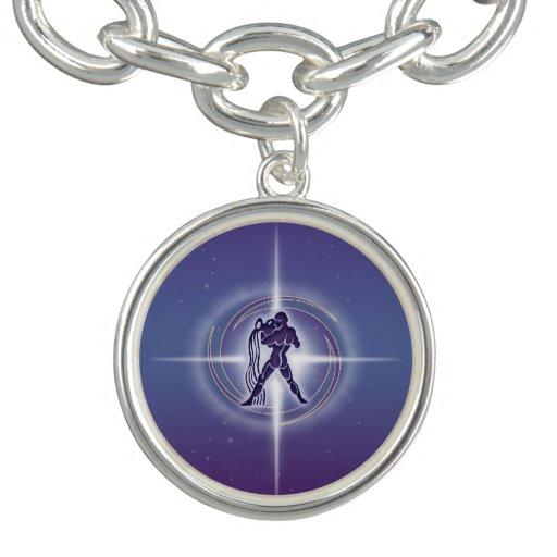 Aquarius Horoscope Lavender Charm Bracelet