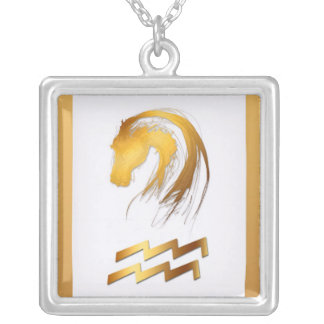 Aquarius Horse Chinese Western Astrology Birthday Square Pendant Necklace