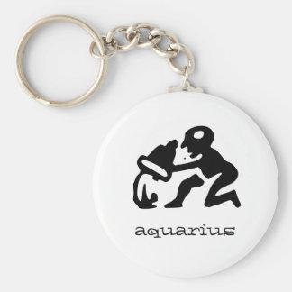 Aquarius in black keychain