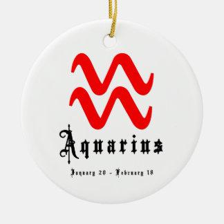 Aquarius, January 20 - February 18 Ceramic Ornament