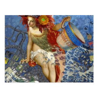 Aquarius Mermaid Woman Gothic Whimsical Collage Postcard
