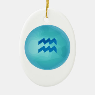 Aquarius Double-Sided Oval Ceramic Christmas Ornament