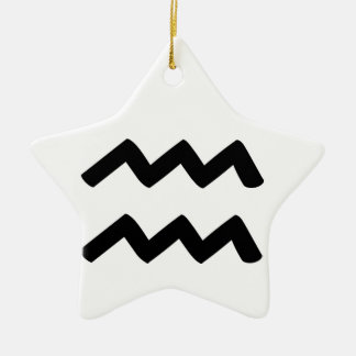 Aquarius Double-Sided Star Ceramic Christmas Ornament