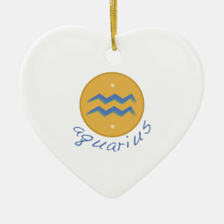 Aquarius Double-Sided Heart Ceramic Christmas Ornament