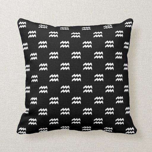Aquarius Pattern Black and White Throw Pillows