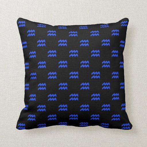 Aquarius Pattern Blue Throw Pillows