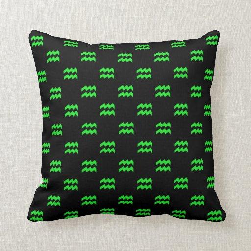 Aquarius Pattern Green Throw Pillows