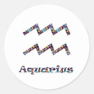 Aquarius Psychedelic Round Sticker