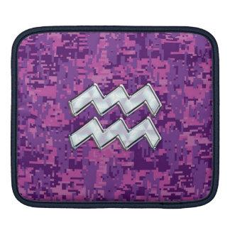 Aquarius Sign on fuchsia pink digital camo iPad Sleeves