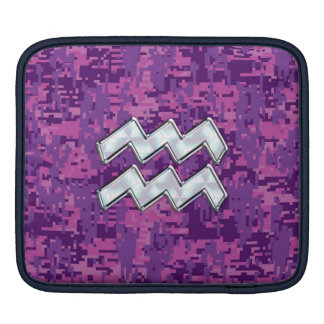 Aquarius Sign on fuchsia pink digital camo Sleeve For iPads