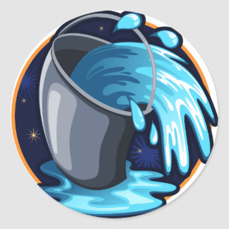 Aquarius Classic Round Sticker