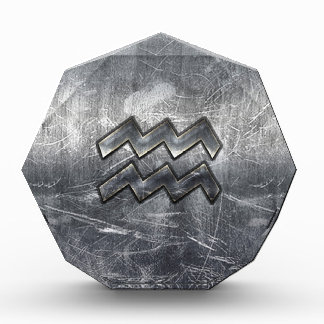 Aquarius Symbol Grunge Distressed Silver Steel Award
