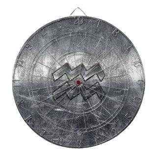 Aquarius Symbol Grunge Distressed Silver Steel Dartboard