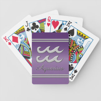 Aquarius Symbol in Chrome on Amethyst Effect Bicycle Playing Cards