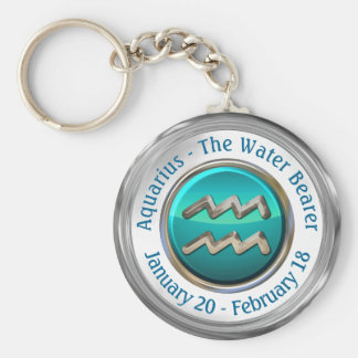 Aquarius - The Water Bearer Astrological Sign Keychain