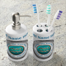 Aquarius - The Water Bearer Astrological Sign Soap Dispenser And Toothbrush Holder