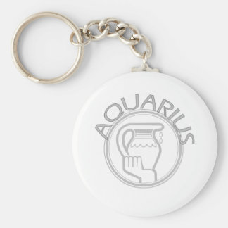 Aquarius The Water Bearer Basic Round Button Keychain