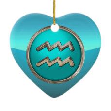 Aquarius - The Water Bearer Horoscope Sign Ceramic Ornament