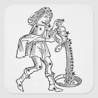 Aquarius (the Water Carrier) an illustration from Square Sticker
