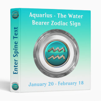 Aquarius - The Water Pitcher Astrological Sign 3 Ring Binder