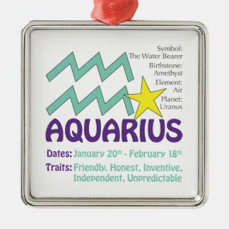 Aquarius Traits Square Ornament