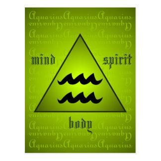 Aquarius Triangle Mind Body Spirit Holistic Green Postcard