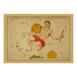 Aquarius  - Vintage Sign of the Zodiac Image Print