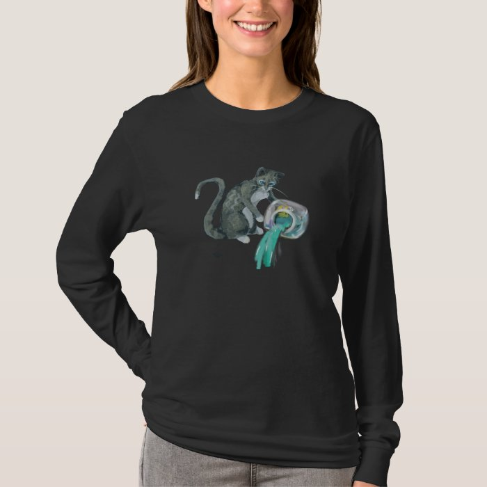 Aquarius - Water-Bearer Cat with Fishbowl T-Shirt