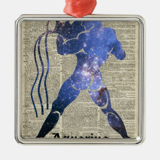 Aquarius Water Zodiac Sign Over Old Book Page Square Metal Christmas Ornament