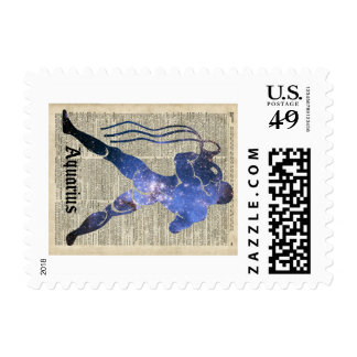 Aquarius Water Zodiac Sign Over Old Book Page Postage