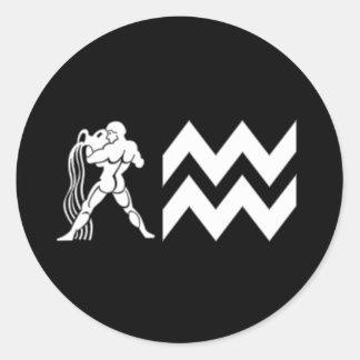 Aquarius with Symbol Round Stickers