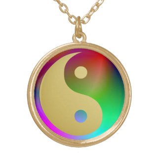 Aquarius Yin and Yang Gold Plated Necklace