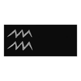 Aquarius. Zodiac Astrology Sign. Black. Card