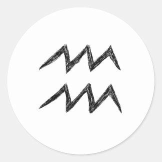 Aquarius. Zodiac Astrology Sign. Black. Classic Round Sticker