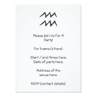 Aquarius. Zodiac Astrology Sign. Black. 6.5x8.75 Paper Invitation Card