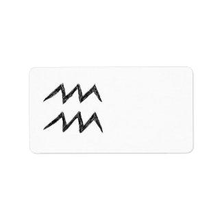 Aquarius. Zodiac Astrology Sign. Black. Label