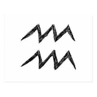 Aquarius. Zodiac Astrology Sign. Black. Postcard