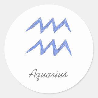 Aquarius. Zodiac Astrology Sign. Blue. Classic Round Sticker