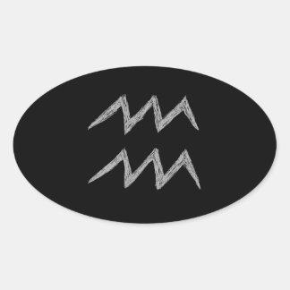 Aquarius. Zodiac Astrology Sign. Oval Sticker