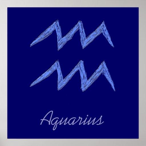 Aquarius. Zodiac Astrology Sign. Poster