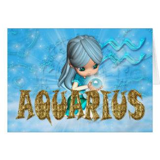 Aquarius Zodiac Birthday card with cutie pie aquam
