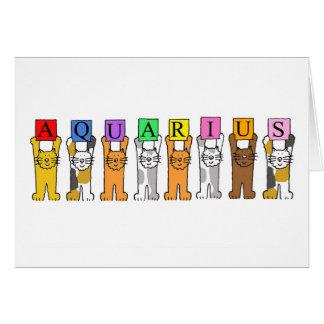 Aquarius Zodiac Birthday Cats Card