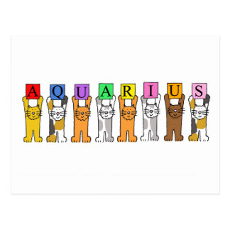 Aquarius Zodiac Birthday Cats Postcard