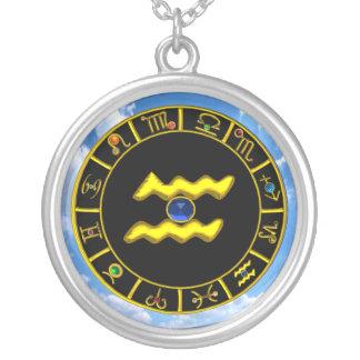 AQUARIUS ZODIAC BIRTHDAY JEWEL  Blue Sapphire Gold Necklace